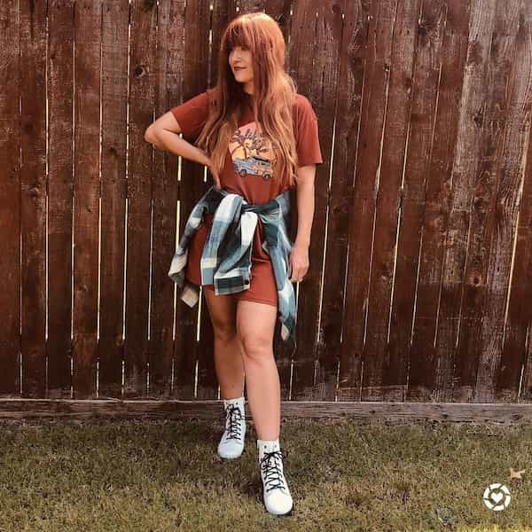 90s Fall Inspired T shirt Dress Outfit