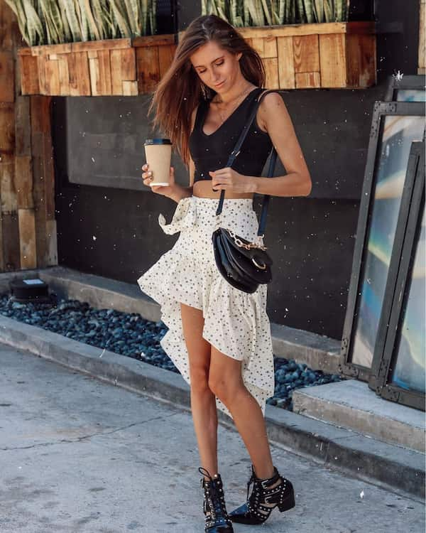 Black Cropped Top + White Skirt with Blue Dots + Heel Shoes