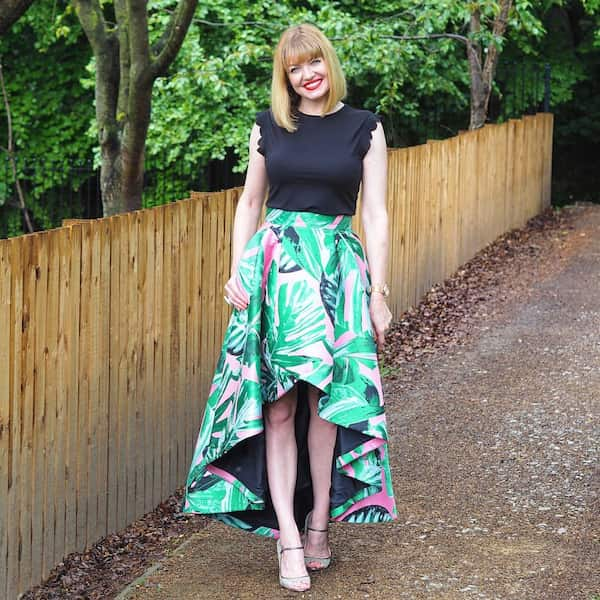 Black Top + Pink on Green High Low Skirt