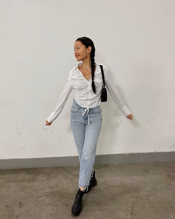 Centered Buttoned White Long Sleeve + Jeans + Black Shoe