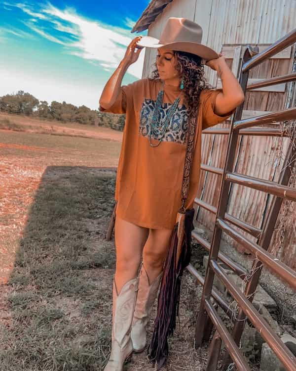 Cowgirl T-shirt Dress Outfit