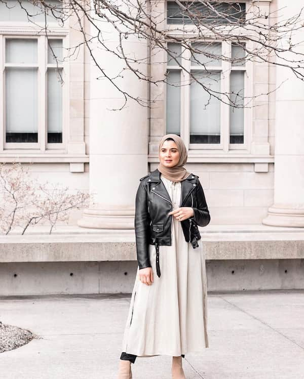 Hijab + Gown + Leather Jacket + Boots