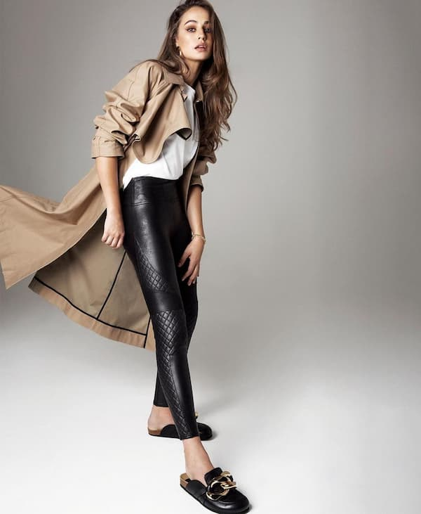 Inner White Top + Trench Coat  + Leather Pants + Shoe