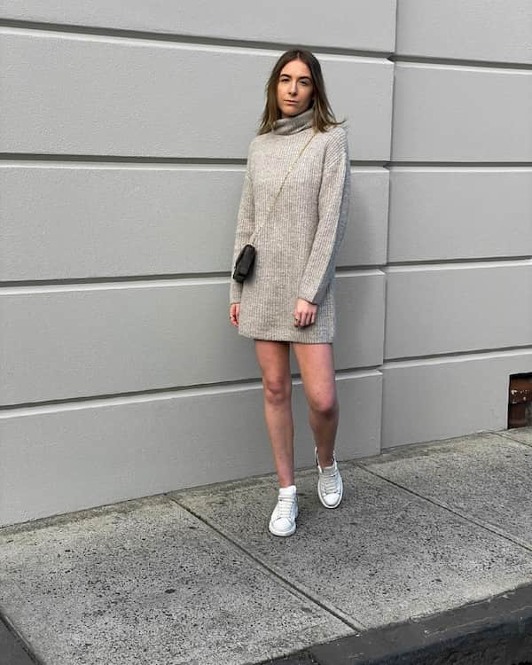 Knitted Brown Turtle Neck Jumper Dress + Sneakers