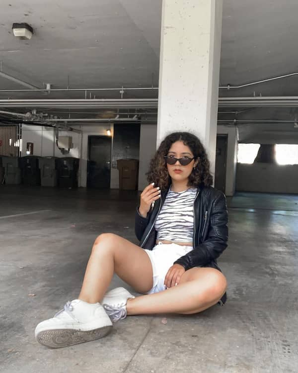 Leather Jacket + Animal Print Top + White Bum Short + White Sneakers