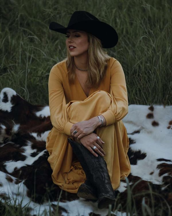 Long Gown + Hat + Cowgirl Boots