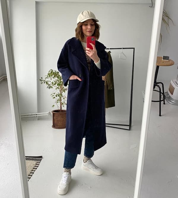 Long Sleeve Shirt + Dark Blue Trench Coat + Jeans +  Face Cap
