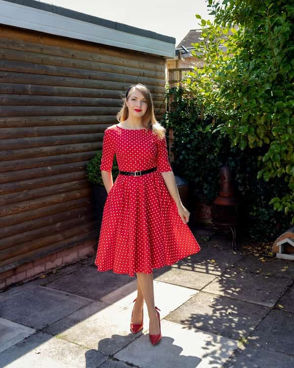 Red Polka Dot Belted Gown + Heels
