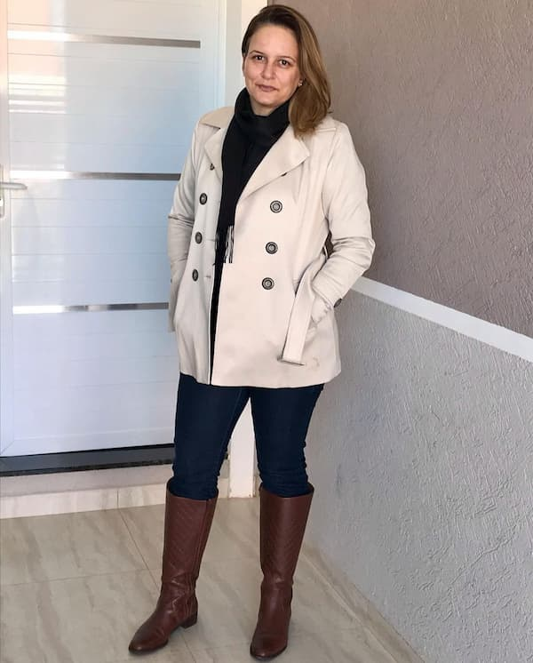 Short Trench Coat + Pants + Knee High Boots