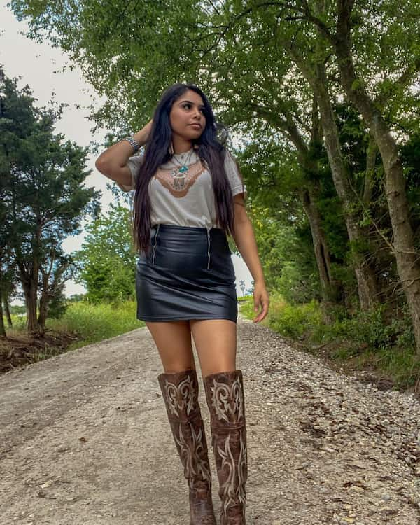 T Shirt + Leather Mini Skirt + Cowgirl Boots