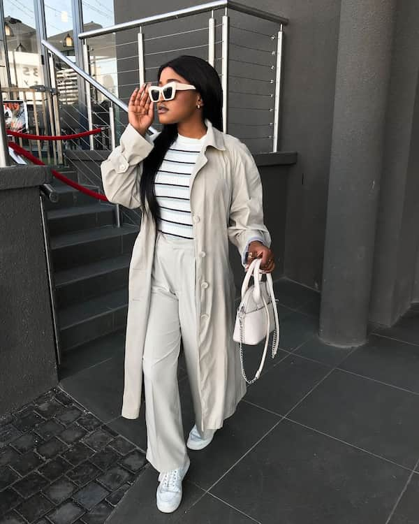 Thrifted Trench Coat + Stripped Top + Pants + Sunglass + Hand Bag
