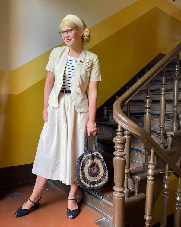 Two Piece Modern Vintage Outfit for Older Women