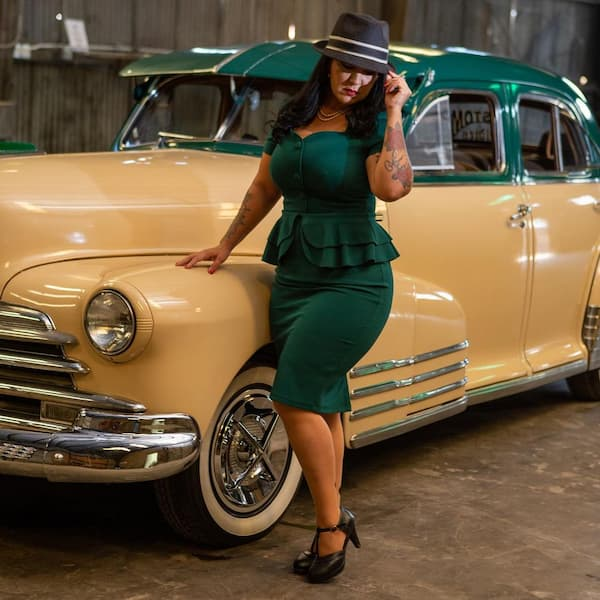 Two Piece Vintage Blouse and Skirt + Heels + Hat