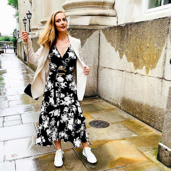 White Blazer + V-Neck Belted Floral Gown + Sneakers +Hand Purse