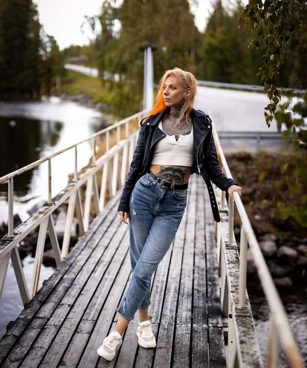 White Crop Top + Leather Jacket +  Jeans Trouser + Sneakers
