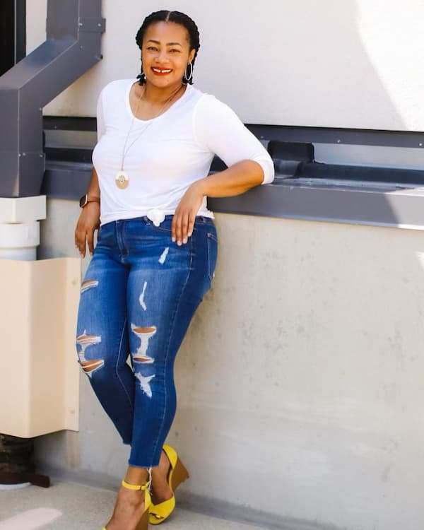 White Long Sleeve Top + Ripped Jeans + Yellow Wedge Shoe