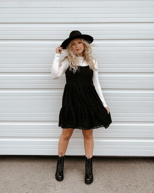 White Long Sleeve Top + Tinsel Black Baby Doll Gown + Black Boots + Hat