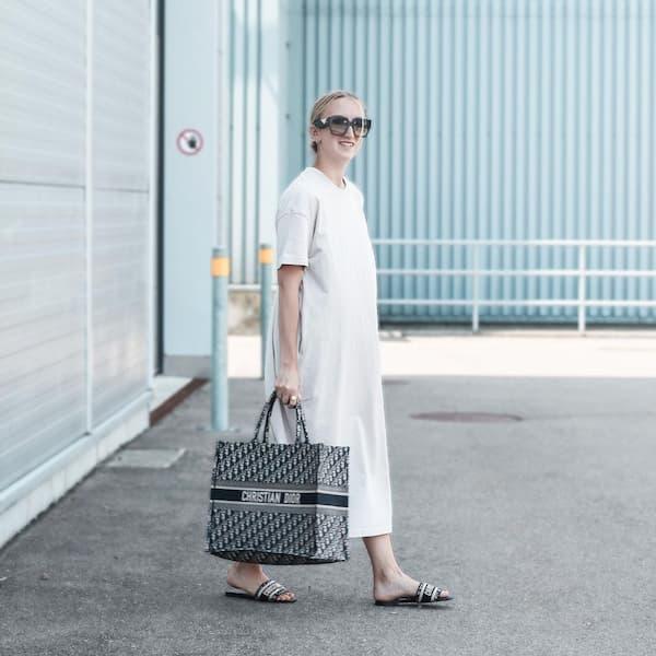 White Tee + Handbag + Sunglasses + Slippers