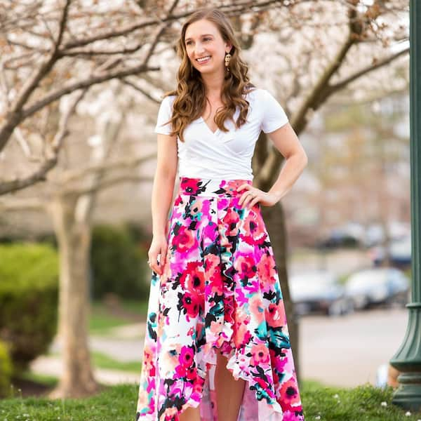 White Top + Floral High Low Skirt
