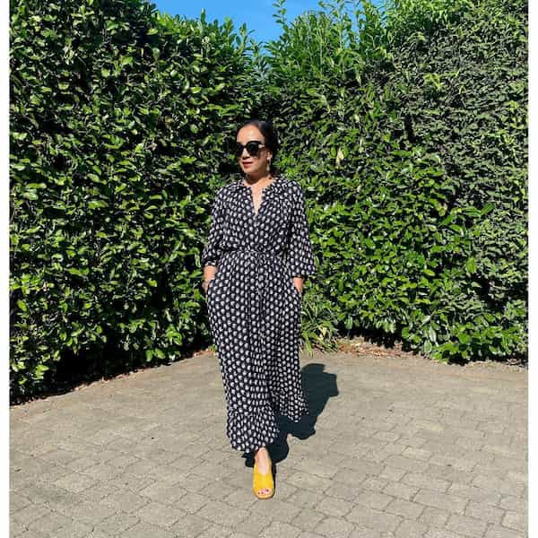 White and Black Dotted Gown + Yellow Shoe