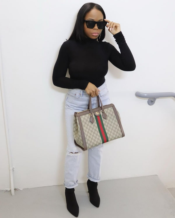 Black Body Hug Top with Light Blue Jeans and Heels + Hand Bag + Sunglasses