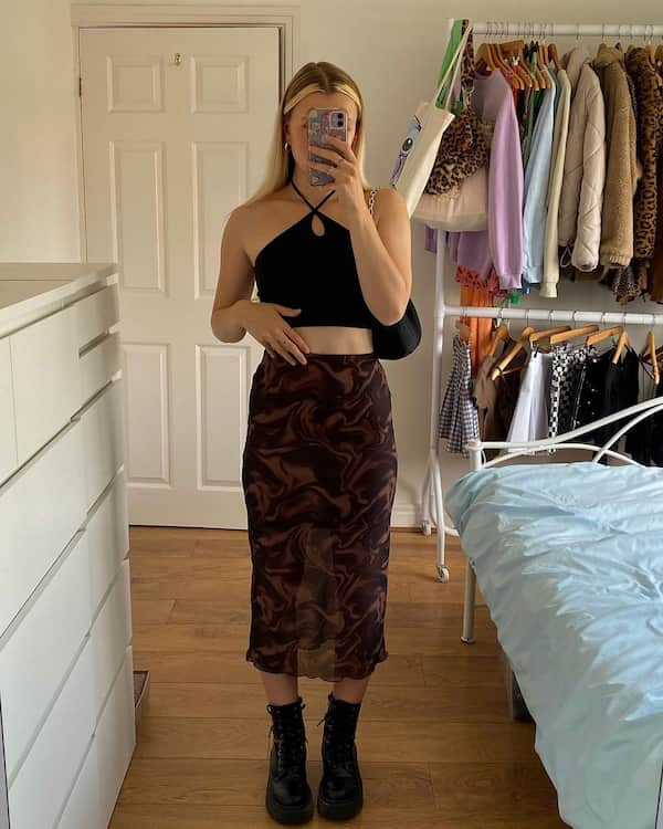 Black Criss-Crop Top with Brown Midi Skirt and Combat Boots
