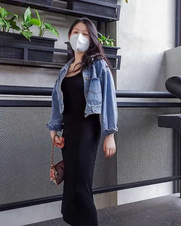 Black Gown with Jeans Jacket and Handbag