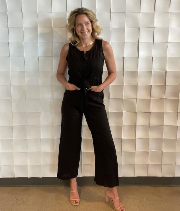 Black Sleeveless Jumpsuit with Heels