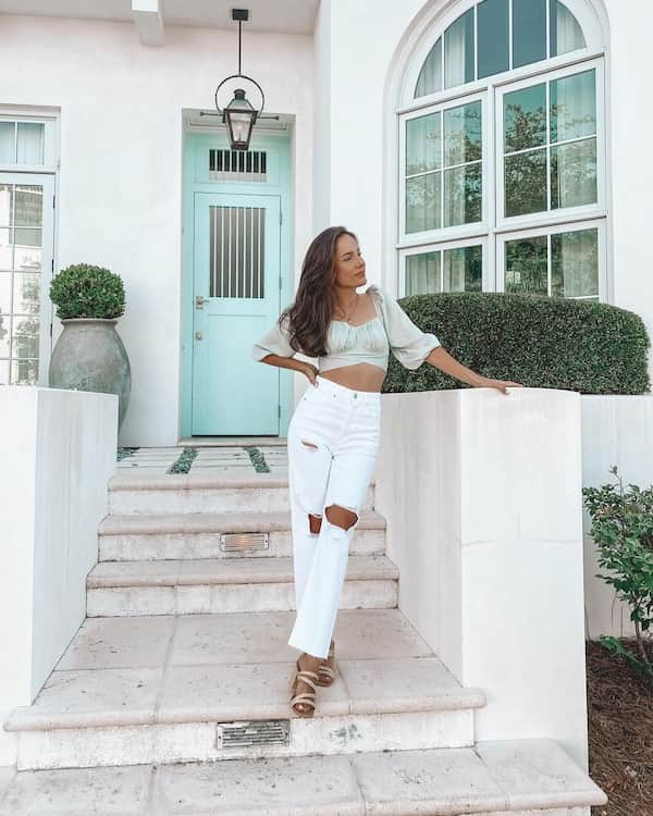 Blouse Crop Top with Ripped White Jeans and Woven Heels