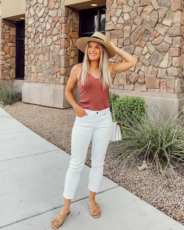 Brown Vest with White Jeans and Hat + Chic Bag + Slippers
