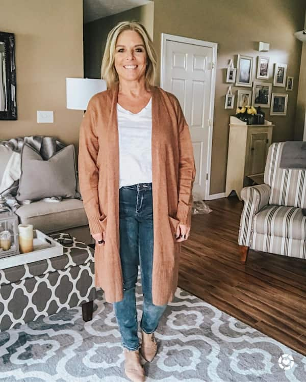Cadigan Sweater + White Top + Jean Trousers + Boots