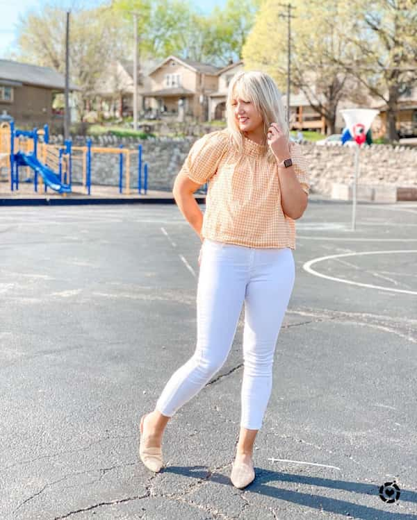 Check Blouse with White Jeans and Flat Shoes