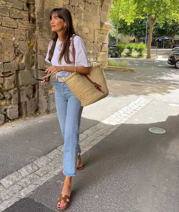 Classic White Tee with Blue Jeans and Slide Sandals + Bag