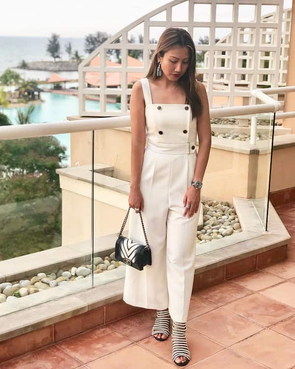 Creamy Colored Jumpsuit with Heel Shoes and Bag
