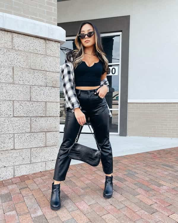 Crop Top + Thick Long Sleeve Shirt with Leather Pants and Boots + Chic Bag