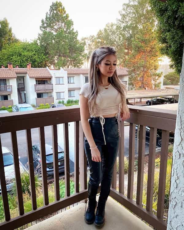 Crop Top with High Waist Leather Pants and Combat Boots