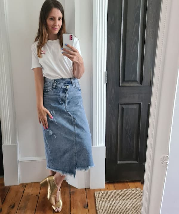 Demin Midi Skirt  with White Top and Heels