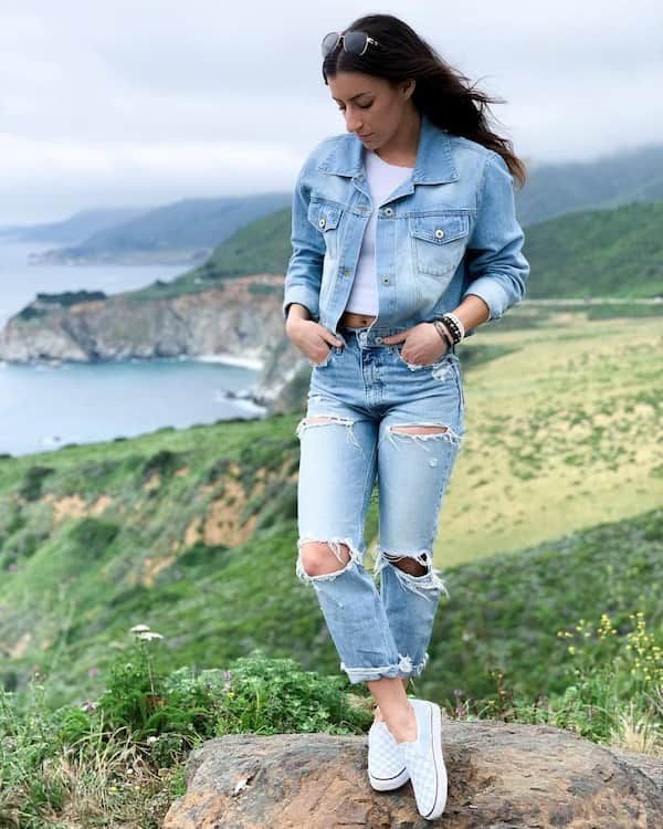 Denim Jacket + White Crop Top with Ripped Jeans and Flat Shoes