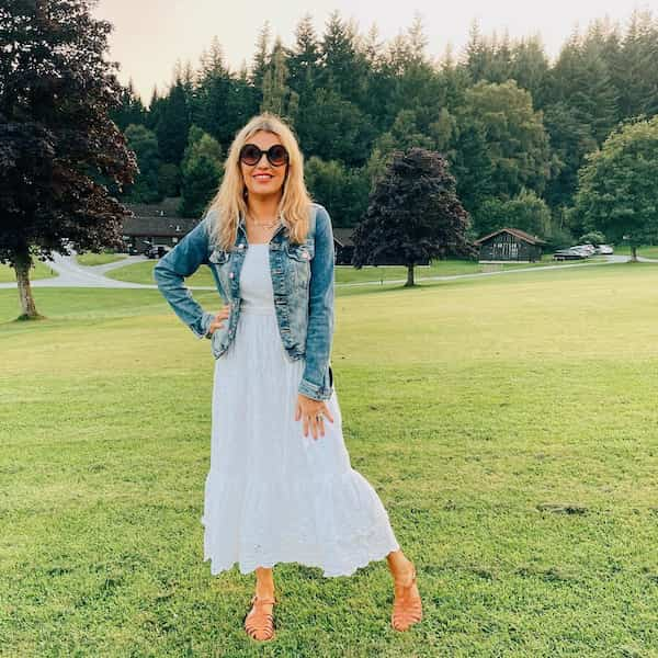 Denim Jacket with Pleated Gown Dress and Sandals + Sunglasses