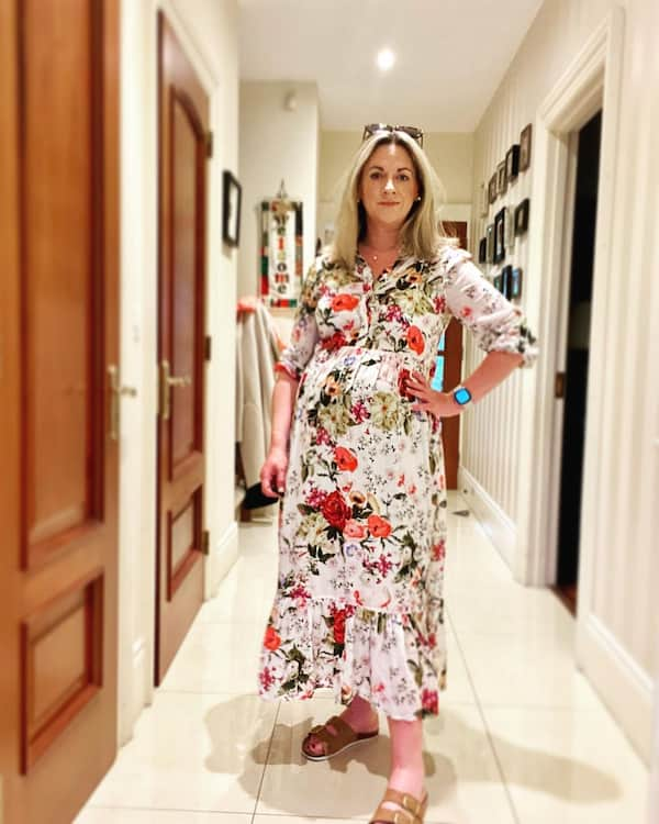 Floral Long Gown + Slippers + Sunglasses