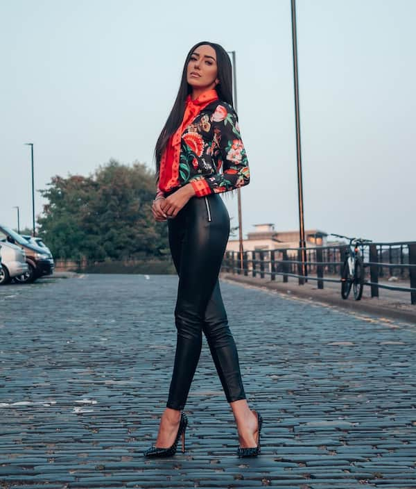 Floral Long Sleeve Shirt with Leather Pant and Heel Shoe