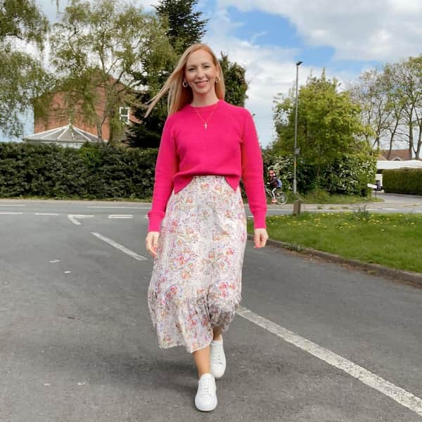 Floral Midi Skirt with Jumper and White Shoes