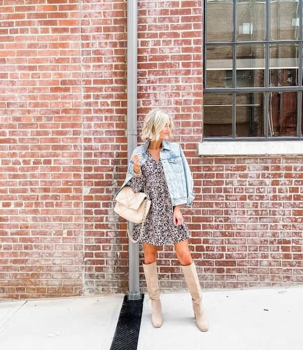 Floral Mini Gown with Denim Jacket and Ankle Length Boots + Handbag
