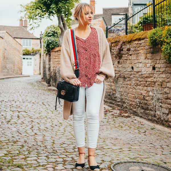 Floral Shirt with Cardigan and White Jeans + Shoe + Cross Body Flap Bag