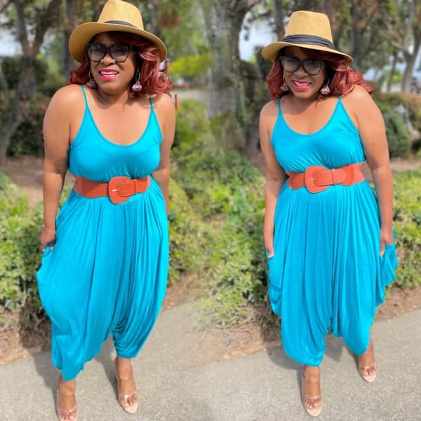 Harem Sleeveless Jumpsuit with Heels and Hat