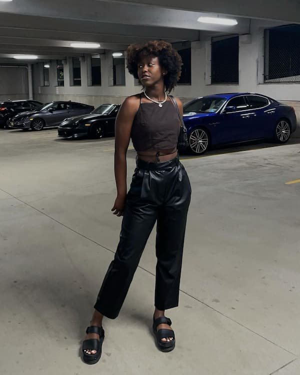 High Waist Leather Pants  with Crop Top and Slide Sandals