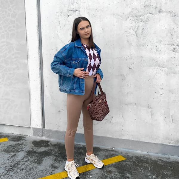 Inner Shirt + Leggings with Jean Jacket + Trainers + Hand Bag