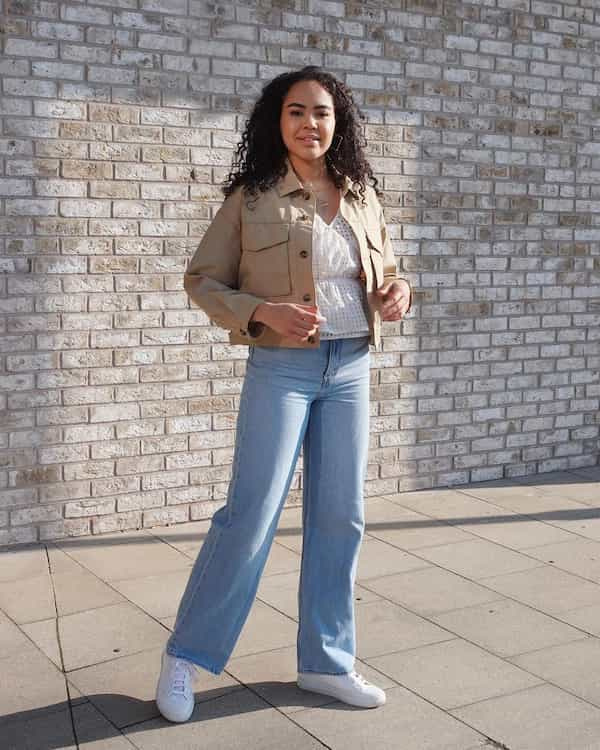Jacket + White Blouse with Light Blue Flare Jeans and Sneakers