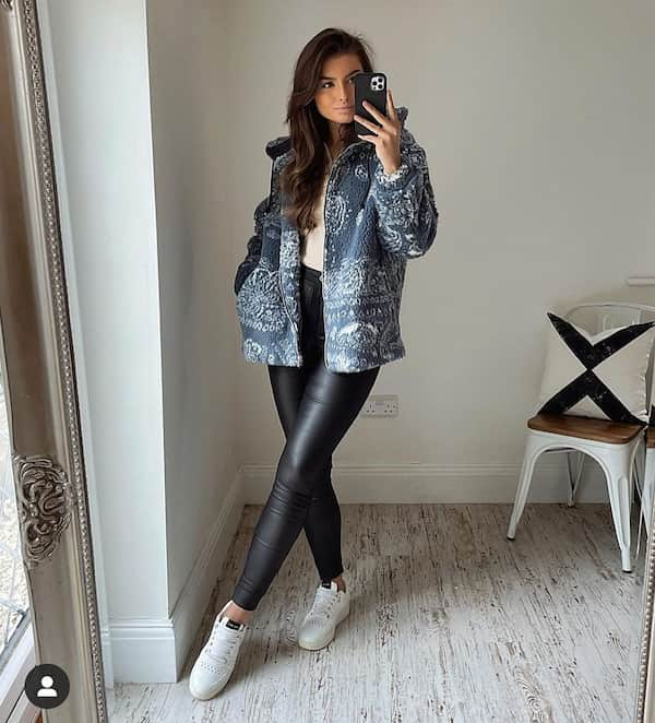 Jacket with White Vest and Black Leather Leggings Pants + Sneakers