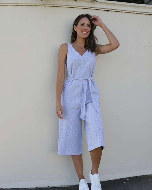 Joey Blue Sleeveless Jumpsuit with Trainers